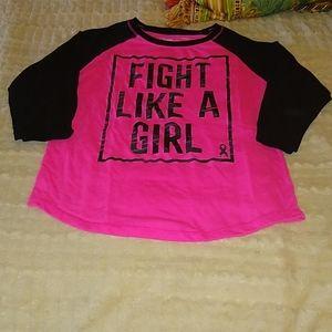 Xersion Fight Like A Girl Tee SZ L (14) Girls